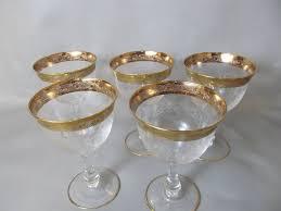 set of vintage 24k gold rimmed austrian