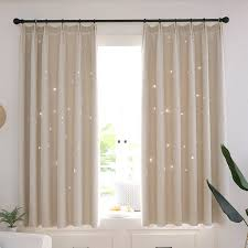 2 Layer Star Tulle Blackout Curtains Eyelet Fabric Room Darkening Starry Curtain Kids Girls Bedroom Decor Walmart Com Walmart Com