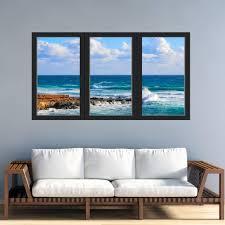 Vwaq 3d Beach View Office Window Wall Decal Sticker Peel And Stick O