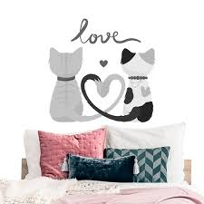 Cute Cats Wall Decal For Bedroom Black White Quote Love Vinyl Etsy