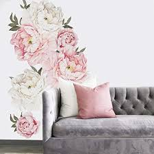 Amazon Com Holly Lifepro Peony Flowers Wall Decals Peel And Stick Rose Wall Sticker For Home Bedroom Nursery Room Wall Decor Style Seven 15 7x24in Home Kitchen