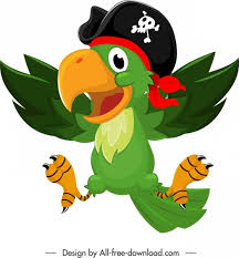 pirate parrot icon colorful funny