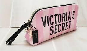 pink stripe cosmetic beauty bag