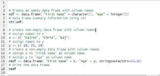 create data frame with column names