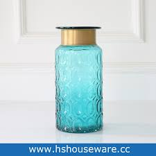 geometry design blue flower glass vase