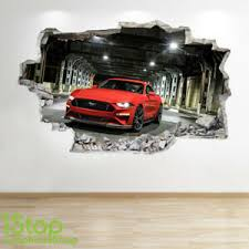 Mustang Wall Sticker 3d Look Boys Kids Bedroom Supercar Wall Decal Z736 Ebay