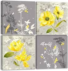 Amazon Com Yellow Flower Wall Art Yellow And Gray Grey Flowers Print Canvas Home Decor Decals Pictures 4 Panels Poster For Bedroom Living Room Office Painting Photo Framed Ready To Hang 12 X12 X4pcs 11