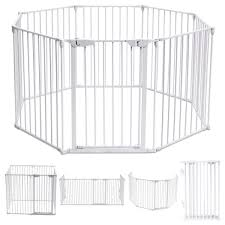 Shop Costway 8 Panel Metal Gate Baby Pet Fence Safe Playpen Barrier Overstock 22649856