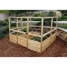 Outdoor Living Today 8 Ft X 8 Ft Cedar Raised Garden Bed With Deer Fencing Kit Rb88dfo The Hom Garden Bed Kits Cedar Raised Garden Beds Garden Boxes Raised