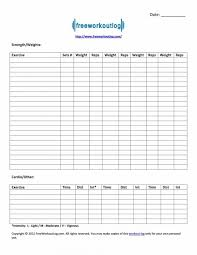 template fitness excel routine