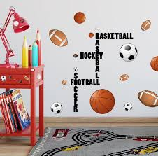 Sports Boys Wall Decal Football Basketball Soccer Baseball Sports Wall Decals Sports Themed Room Boys Wall Decals