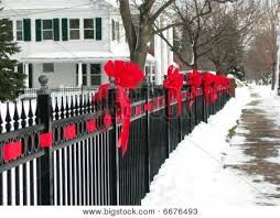 Image Result For Red Ribbon To Tie On Fence Fence Decor Iron Fence Outdoor Christmas
