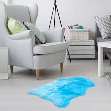 Faux Fur Sheepskin Rug Gray Furry Rugs For Vanity Seats Chairs Cover Plain Shaggy Area Luxury Home Throw Plush Seat Pad Bedroom Kids Rooms Living Room Floor Faux Australian Rugs