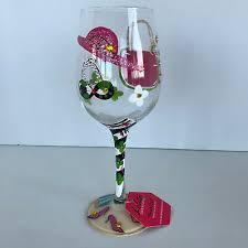 pink green rhinestone wine glass