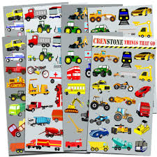 Amazon Com Cars And Trucks Stickers Party Supplies Pack Toddler Over 160 Stickers Cars Fire Trucks Construction Buses More Toys Games
