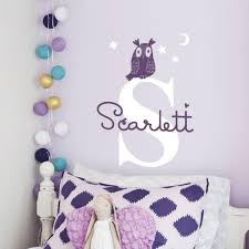 Owl And Custom Name Decal Personalized Wall Decal And Wall Decor Pinknbluebaby Com