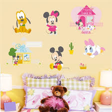 Mega Deal 38b7 Cartoon Mickey Minnie Mouse Pluto Duck Wall Stickers For Kids Rooms Home Decor Disney Wall Decals Pvc Mural Art Diy Posters Cicig Co