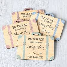 save the date suitcase fridge magnets