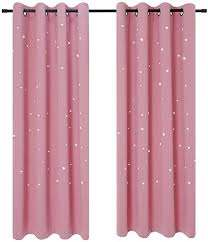 Amazon Com Anjee Blackout Cut Out Stars Curtains For Girls Bedroom Thermal Insulated Light Blocking Window Curtains Drapes For Kids Room Nursery 2 Panels 52 X 63 Inches Baby Pink Home Kitchen