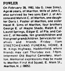 Ida Sims Fowler obituary - Newspapers.com