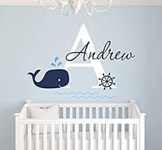 Amazon Com Custom Whale Name Wall Decal Baby Whale Room Decor Nursery Wall Decals Nautical Wall Decals Anchor Art Vinyl Sticker Decalzone Inc Beauty