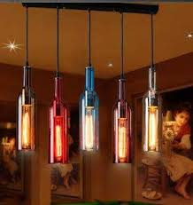 wine bottle colorful pendant lights