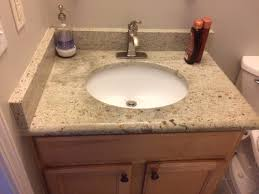 vanity top installation against a wall