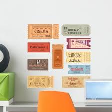 Retro Showtime Movie Tickets Wall Decal Sticker Set Wallmonkeys Peel And Stick Graphic 18 In H X 18 In W Wm502709 Walmart Com Walmart Com