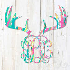 Lilly Deer Antlers Monogram Decal Sew Southern Designs
