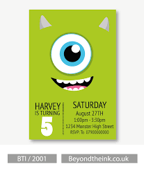 Personalised Mike Wazowski Monsters Inc Invitation Con Imagenes