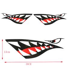 2pc Kayak Sticker Waterproof Shark Teeth Mouth Stickers Decal Canoe Dinghy Marine Boat Car Truck Rowing Boats Aliexpress