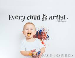 Wall Decals Quote Every Child Is An Artist Kids Wall Decal Surface Inspired Home Decor Wall Decals Wall Art Wooden Letters