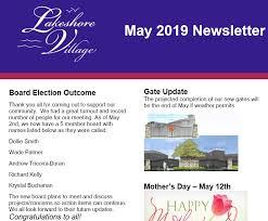 May 2019 Newsletter – Lakeshore Village