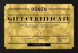 gift certificate 250 la fondue