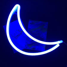 Decorative Led Crescent Moon Neon Light Signs Blue Neon Wall Light Up Sign Art Decor For Home Kids Bedroom Birthday Party Neon Signs