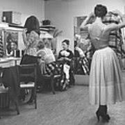 Models In Dressing Room At Adele Metal Print by Alfred Eisenstaedt