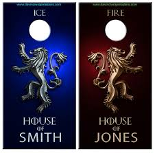 Game Of Thrones Lannister Fire Ice Cornhole Vinyl Decal Wrap Set