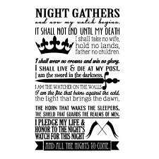 Night S Watch Oath Vinyl Wall Decal Sticker Uniwiin Store Unique Gifts Family