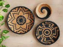 set of 3 wall african inspired baskets