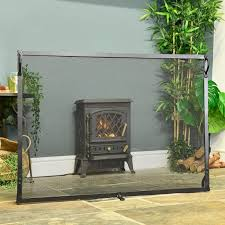 large flat fire screen black country