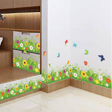 Colorful Flowers Butterflies Fences Baseboard Wall Sticker Home Decor Pvc Decal Ebay