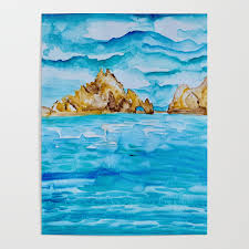 The Arch Cabo San Lucas Mexico Watercolor #2 Poster by anoellejay