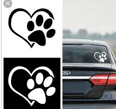 Paw Print Heart Die Cut Vinyl Decal Car Window Sticker Puppy I Love My Dog Ebay