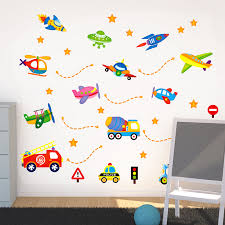 Car Truck Spaceship Aircraft Wall Stickers Children S Room Baby Room Wall Decorative Stickers Nursery Primary School Wall Stickers Children Wall Stickerwall Decor Sticker Aliexpress