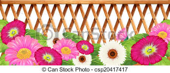 A Garden Of Flowers With A Fence Illustration Of A Garden Of Flowers With A Fence