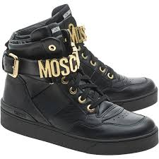 leather sneakers with logo