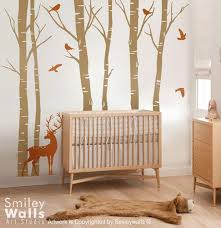 Birch Trees Wall Decal Forest Trees Wall Decal Deer Wall Decal Nursery Smileywalls On Artfire