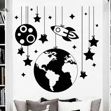 Rocket Space Wall Decal Vinyl Rocket With Star Wall Sticker Nursery Room Decoration Kids Room Wall Art Mural Space Pattern Ay398 Aliexpress
