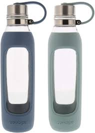 glass water bottle with straw hot
