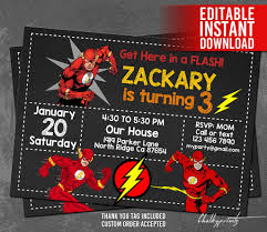 The Flash Invitation Instant Download Flash Invitations Etsy